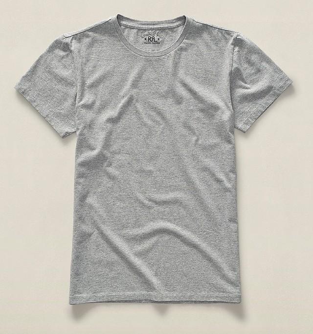 グレーのクルーネックTシャツ