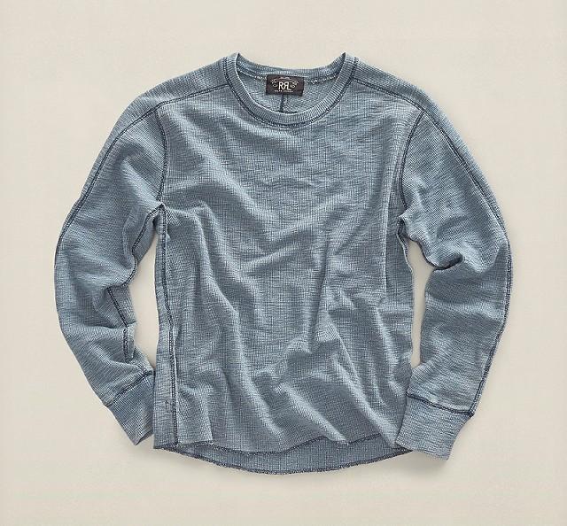 RRLのインディゴ コットン ワッフル Tシャツ