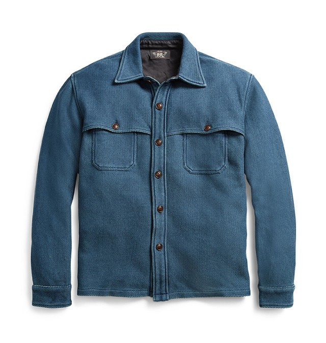 Indigo Cotton Twill Overshirt