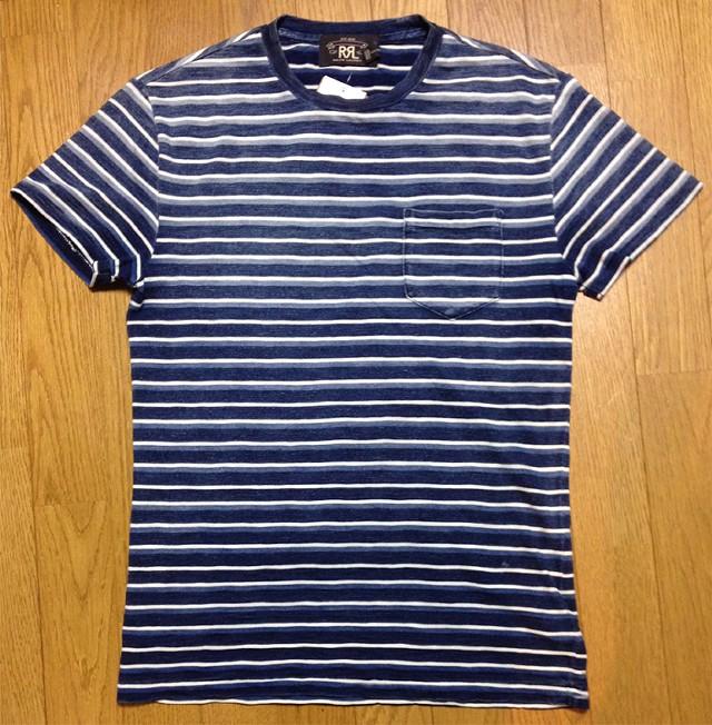 RRLの「インディゴ ストライプド コットン Tシャツ」