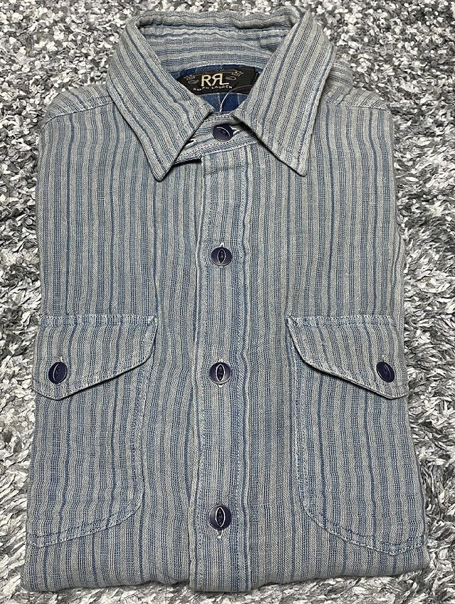 RRLの「インディゴ ストライプド ダブルフェイスド ワークシャツ」